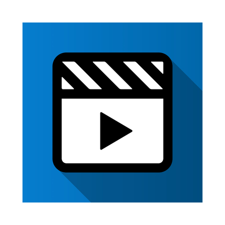 Video movie play, playback button icon vector illustration. blue color.