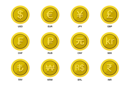 World wide money gold coin icon. Vector illustration image  イラスト・ベクター素材