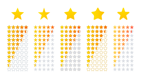 Five star review icon rating, vector illustrations design material