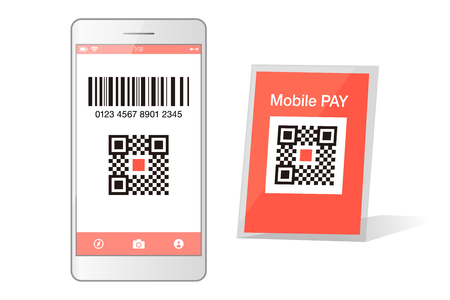 QR code payment Smartphone app cashless technology concept vector illustration design image. digital pay without money.  イラスト・ベクター素材