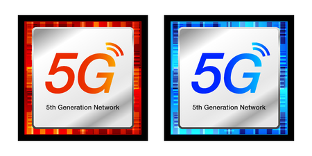 5 G image concept vector illustration material, Mobile technology 5 g CPU chip design icons