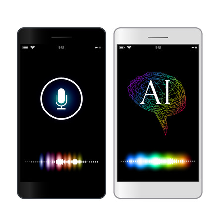 Voice recognition, artificial intelligence mobile phone search concept illustration. Blue Assistant image Illustration