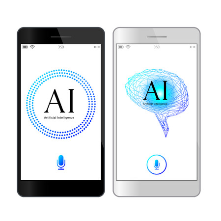 Voice recognition, artificial intelligence mobile phone search concept illustration. Blue Assistant image  イラスト・ベクター素材