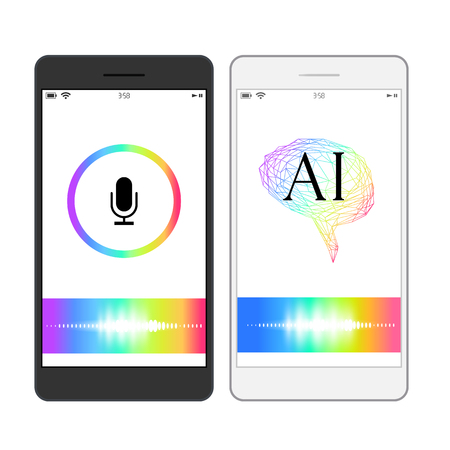 Voice recognition, artificial intelligence mobile phone search concept illustration. Rainbow Wave Assistant image