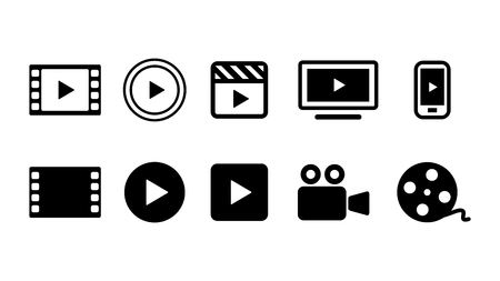 Video Movie VOD streaming button icon set vector illustration. Red blue yellow color