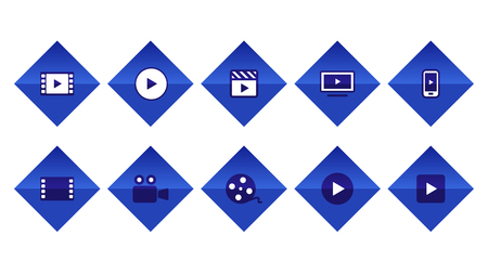 Video Movie VOD streaming button icon set vector illustration. Blue color