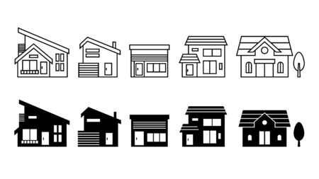 Home and house icon set. Vector illustration image