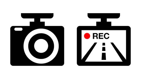 Drive recorder, Dvr illustration icon image material. black and white red. vector pictogram isolated on white.  イラスト・ベクター素材