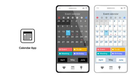 Calendar schedule smartphone app UI graphic design vector illustration material  イラスト・ベクター素材