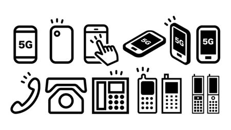 Smartphone phone 5G icons set. Black and white vector illustration material symbol collection.