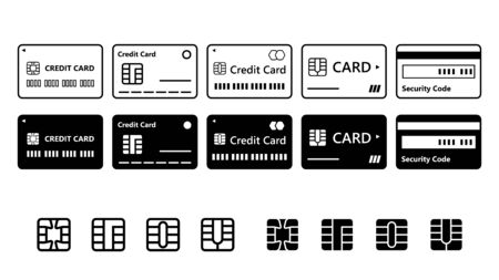 Credit Card Vector Icon Set Design Illustration Material Isolated on White Background