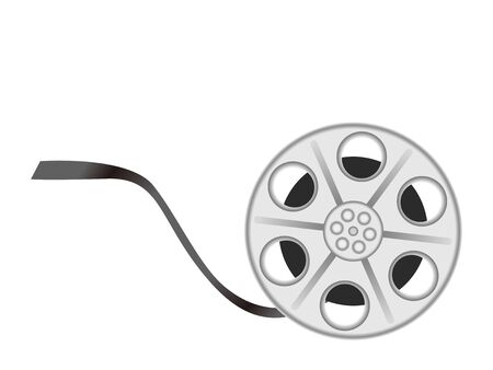 Old movie cinema film reel. Vector Illustration Icon White and Black Isolated Material