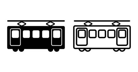 Train railway simple icon vector illustration material black and white  イラスト・ベクター素材