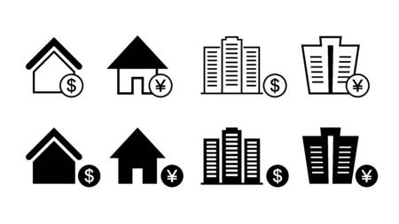 Mortgage real estate investment icon set black and white vector illustration image.  イラスト・ベクター素材