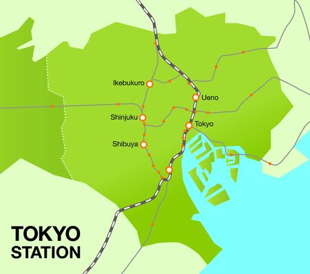 Tokyo 23 wards japan area map central station vector illustration material