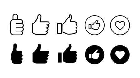 Press the like button, Thumbs up and heart vector icon on a white background.  イラスト・ベクター素材