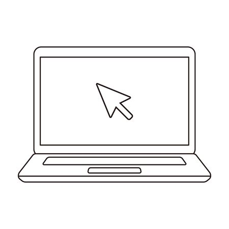 Laptop click cursor line art icon illustration material