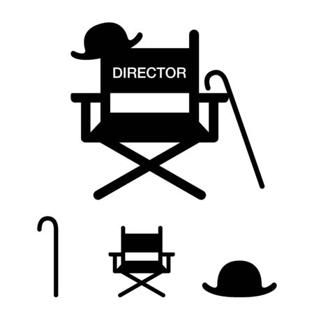 Director Chair, movie director's equipment item vector icon illustration material