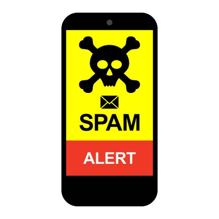 Smartphone Mobile Phone Spam, virus spam image, icon vector illustration material red color 向量圖像