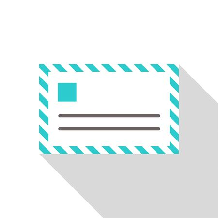 mail icon simple blue vector illustration on white background.