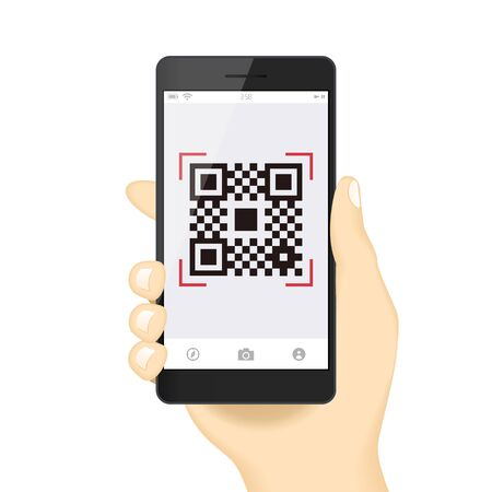 Qr code payment Hand Finger Smartphone app cashless technology concept vector illustration design image. digital pay with money.