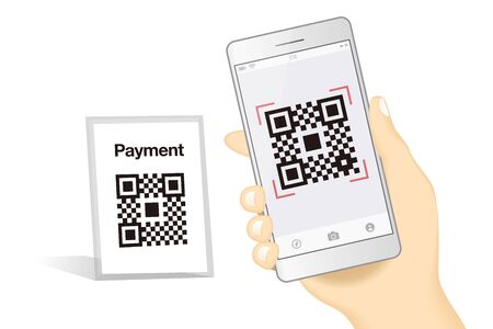 Qr code payment Hand Finger Smartphone app cashless technology concept vector illustration design image. digital pay with money.