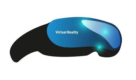 Virtual real headsetity. Head mount display. Vector vector blue image 일러스트