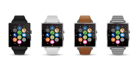 4 colors smartwatches, black white leather silver, vector image.