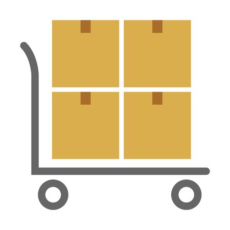 Vector Flat carton box and push car delivery vector illustration