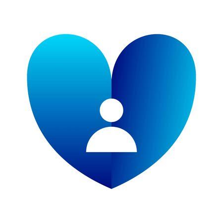 shine tiny love icon, heartbeat blue color illustration.