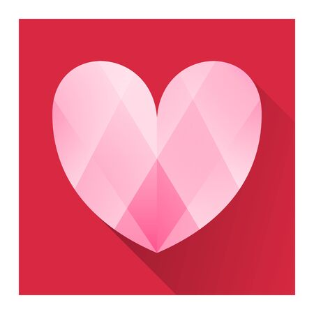 shine tiny love icon, heartbeat pink color illustration.