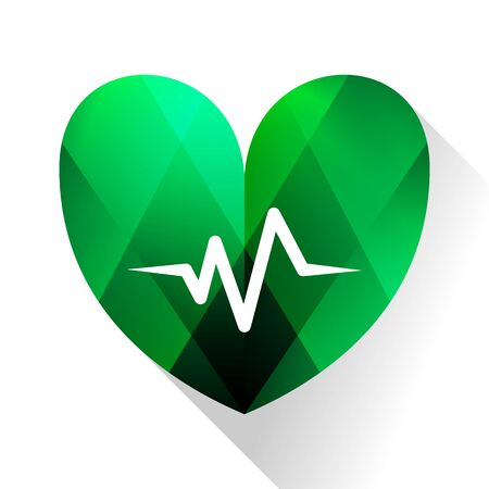 shine tiny love icon, heartbeat green color illustration. Ilustração