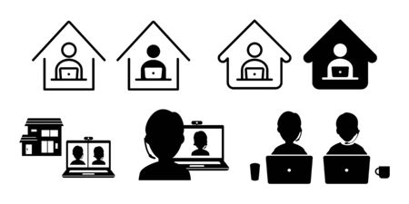 Teleworking from home work remote vector icon set illustration black and white