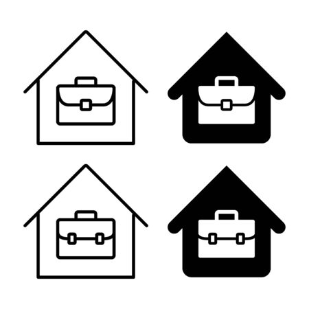 Teleworking from home work remote vector bag icon set illustration black and white Illustration