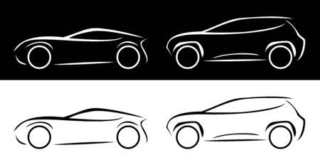 SUV coupe car line silhouette vector icon monochrome illustration