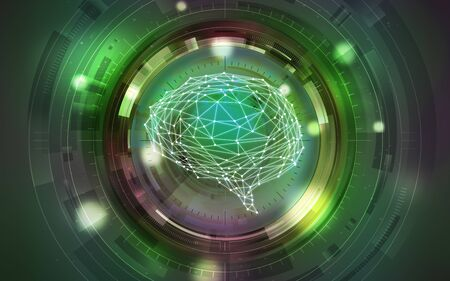 Green Intelligent Artificial brain mother computer. illustration background image. Stock Photo