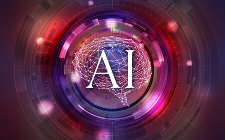 Red Intelligent Artificial Brain Mother Computer. illustration background image. Stock Photo