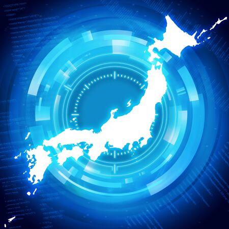 japan map Blue security design image illustration