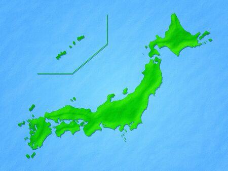 japan map 3d design green image illustration