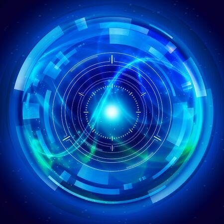 Blue Intelligent Artificial brain mother computer. illustration background image.
