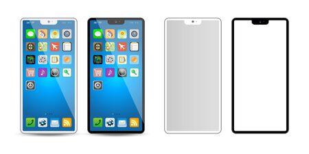 Black & white mobile phone, app icon vector Illustration