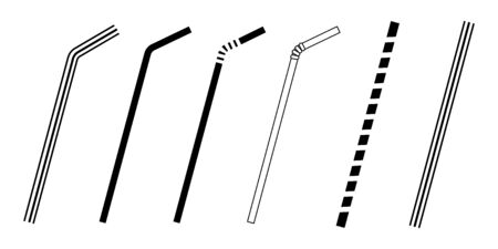 Straw icon vector illustration black and white Illustration