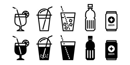 Summer drink juice beer drink vector icon set monochrome