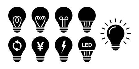Bulb electric LED energy saving vector icon illustration set Illustration