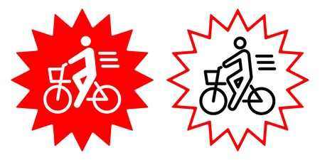 Bicycle manner vector icon illustration material Bicycle insurance  イラスト・ベクター素材