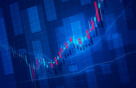 Stock price rise chart image background image blue Stock Photo