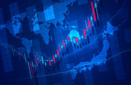 Stock price rise chart image background map image blue Stock Photo