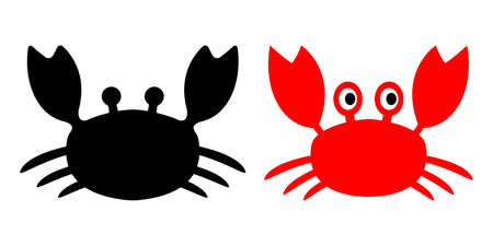 Crab cute character vector icon illustration red black and white material Illustration