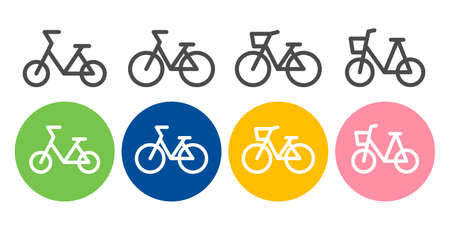 Bicycle etiquette vector icon set illustration black and white material bicycle insurance