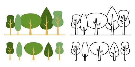 Forest Vector Icon Design Set Green Monochrome Mark